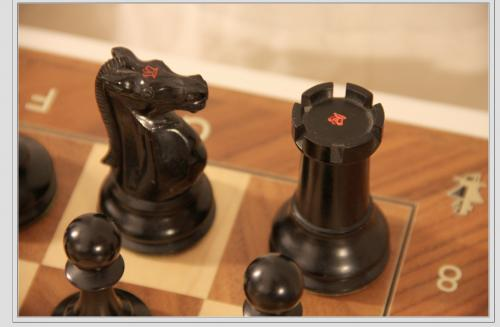The knight and rook can be identified as the kingside K and R for notation purposes